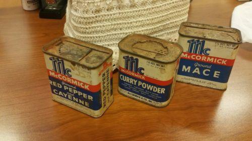 Vintage McCormick spice tins set of 3