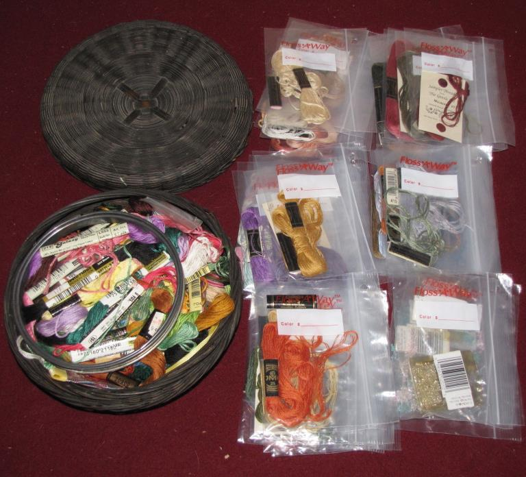 Vintage Round Wicker Sewing Basket Embroidery Floss Thread Hoops Yarn Beads