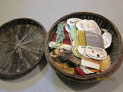 Antique 1920s Hand Woven Reed Sewing Basket with yarn inside