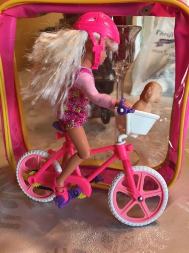 BARBIE DOLL SISTER SKIPPER SIZED BICYCLE WITH BASKET AND DOG