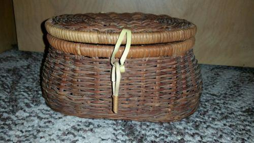 Vintage Wicker Fish basket with bely loops
