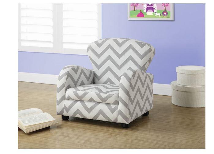 New Child Kid Chair Chevron Gray White