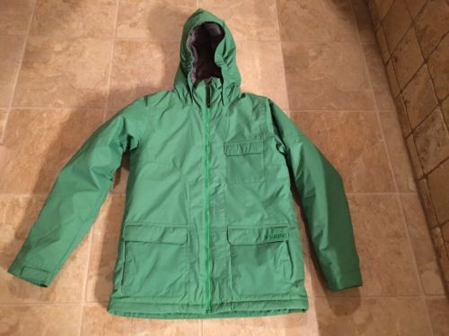 EUC Burton Snowboard Jacket Boys Size XL Green White Collection Wore 2x!