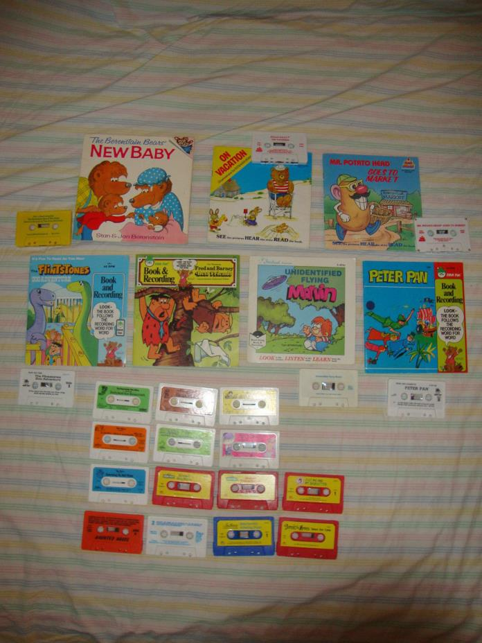 Vintage CHILDRENS Books on Tape Audio Listening Center Homeschool+14 cassettes