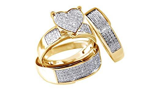 White Natural Diamond Heart Shape Engagement & Wedding Trio Band Ring Set In 10k