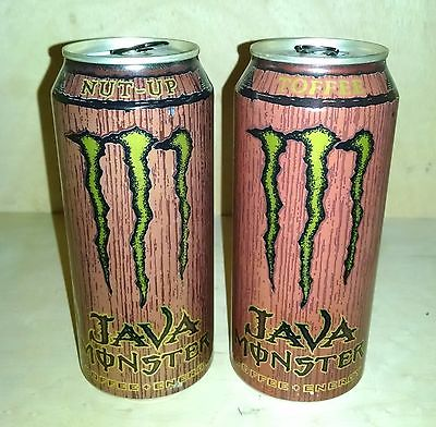 JAVA Monster Energy Cans - NUT UP & TOFFEE - Top Empty 15 oz Cans RARE