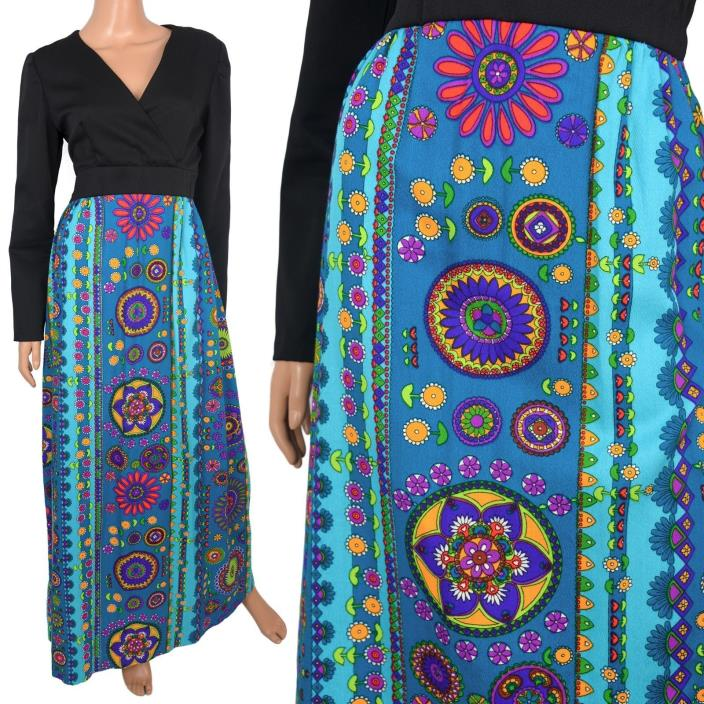 Vintage 60s Mod Maxi Dress Barkcloth Turquoise Flower Power Print Hostess Party