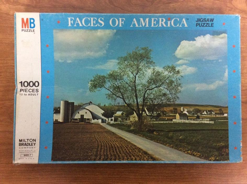 Vintage Milton Bradley Faces Of America Amish Farms 1000pcs Jigsaw Puzzle 4490-7