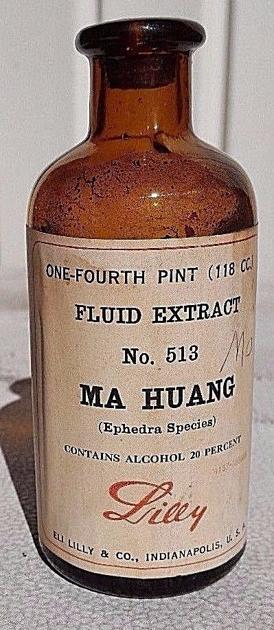 ANTIQUE ELI LILLY MA HUANG (EPHEDRA SPECIES) N.F. FLUID EXTRACT BOTTLE No. 513