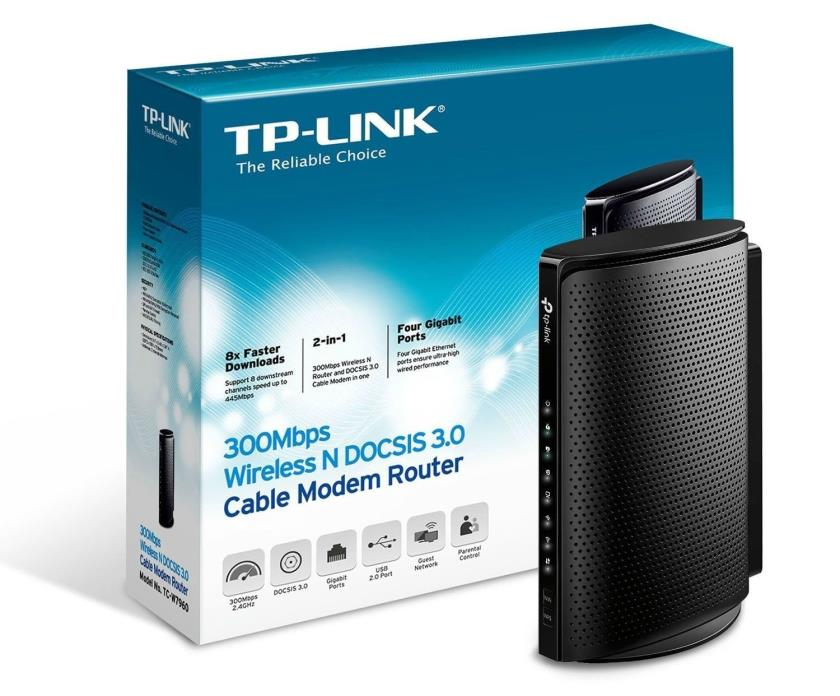 TP-LINK TC-W7960 N300 DOCSIS 3.0 Wireless Wi-Fi Cable Modem Router Combination