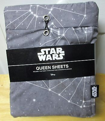 Disney Star Wars Queen Sheet Set - Gray, Darth Vadar on pillow cases NEW