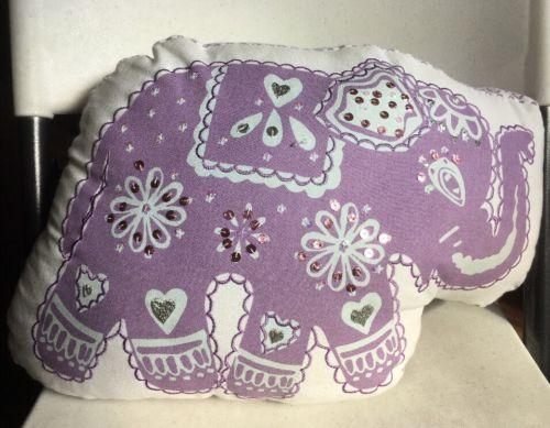Pottery Barn Kids STELLA ELEPHANT Decorative Purple Pillow Used