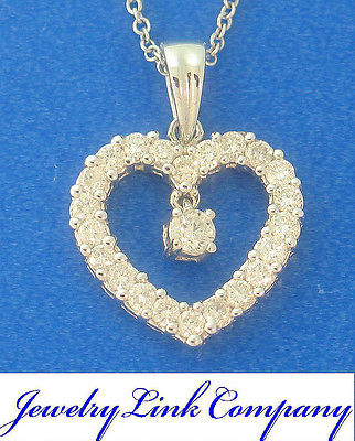 Diamond Heart Pendant 18K Solid White Gold 51pts G color SI1 DP0043