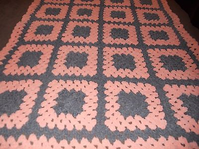 hand made baby peach grey granny aproxamately 39 wide and 46 long.