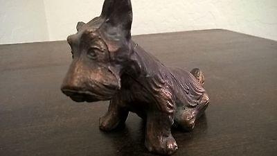 Vintage  Heavy Brass Bronze Scotty Dog  Statue Figurine