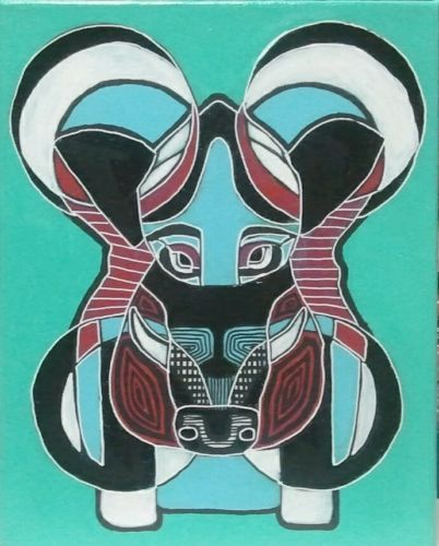Abstract Native American Style Warthog Boar Painting pig hunting cabin phish gd