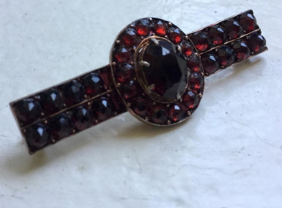 Bohemian garnet | garnet brooch | sterling silver | vintage brooch