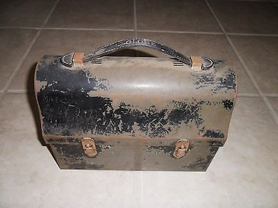 Vintage Old Depression Era Metal Dome Globe Miners Lunch Box