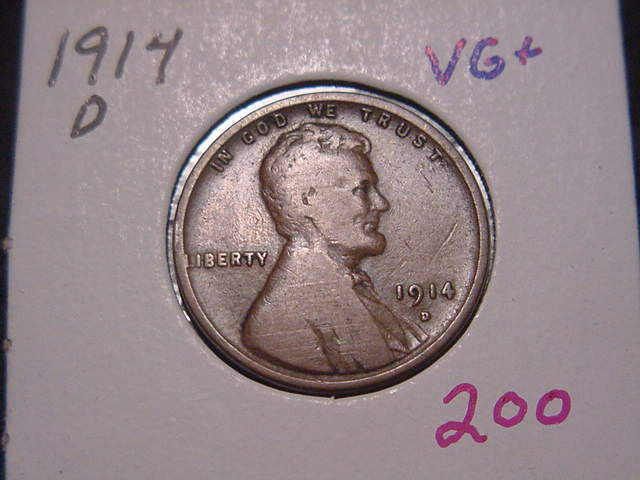 1914-D LINCOLN CENT VG+ NICE ATTRACTIVE COIN