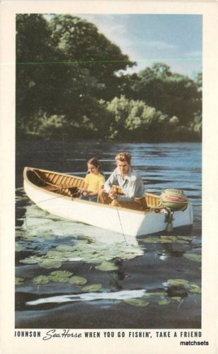 1950s Johnson Outboard Motor Advertising artist impression postcard 830