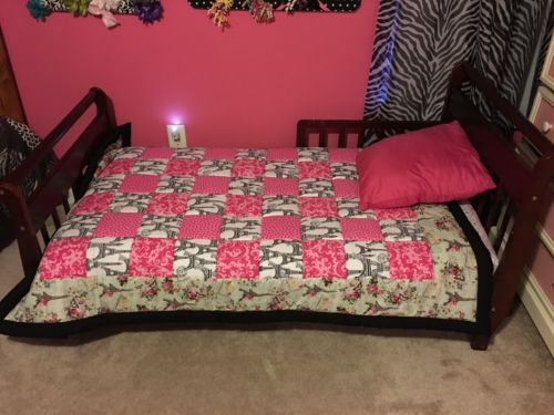 Paris Themed Eiffel Tower Black And Pink Crib Toddler Sized Quilt Handmade