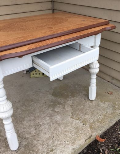 1930s-40s Porcelain Enamel Top Bakers Table w/ Drawer & Extensions, White/Brown