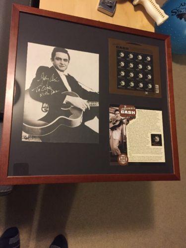 Johnny Cash Framed Signed Calendar Photo Montage