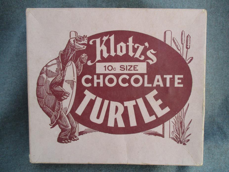 VINTAGE 1950s ? KLOTZS CHOCOLATE TURTLE CANDY STORE DISPLAYS BOX LOUISVILLE KY