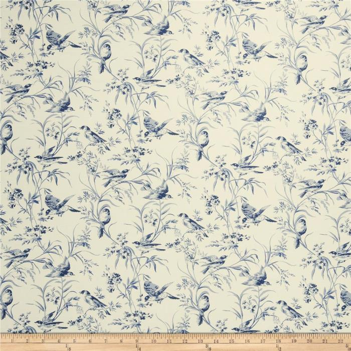 4 Drapes FRENCH GENERAL AVIARY TOILE  in Indigo Blues on Natural Linen Blend