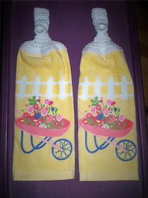 Spring Flowers in Wheel Barrel Design Kitchen Hanging Towels Crochet Hanger (2)