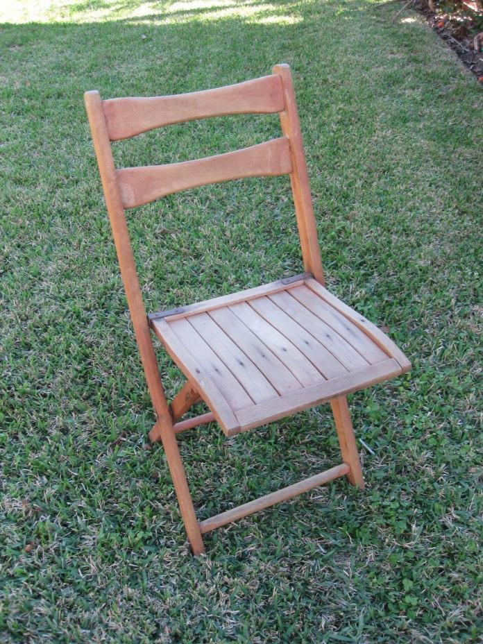 Vintage Folding Wood Chair Slatted Seat Abbey Rents