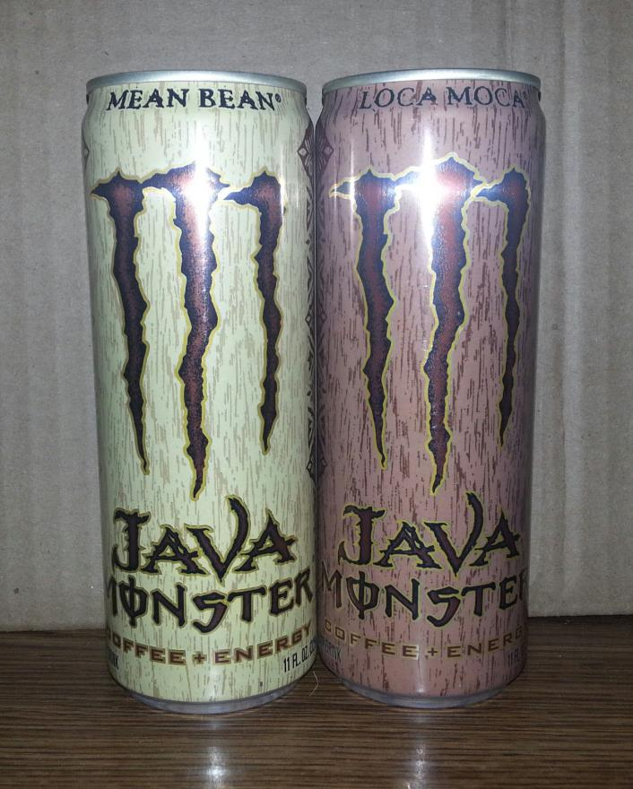 JAVA MONSTER ENERGY 11OZ MEAN BEAN AND LOCA MOCA CANS (FULL)