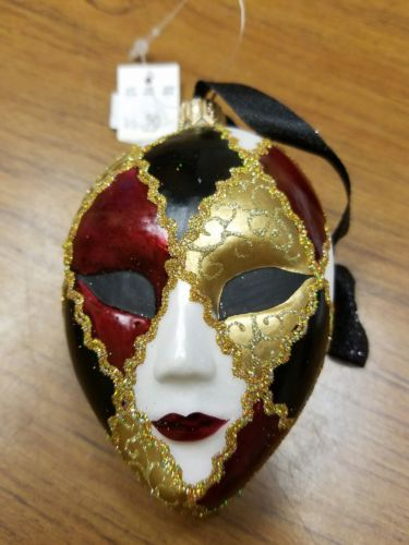 Mardi Gras ceramic jester face ornament by Katherine's Collection
