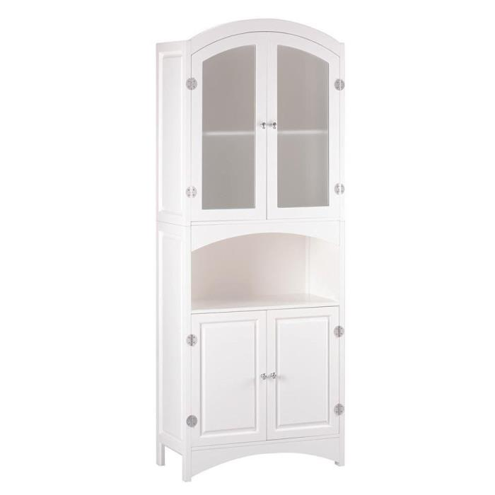 White Linen Storage Cabinet with Frosted Glass Doors and Arched Open Shelf