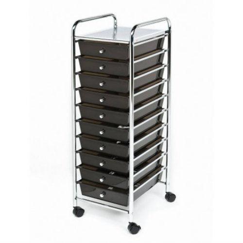 Seville Classics 10-Drawer Organizer Cart, Black/Chrome Office Home Rolls Shelf