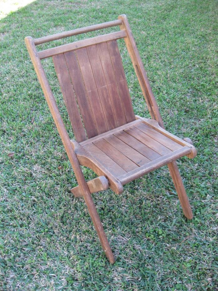 Vintage Tucker Duck and Rubber Folding Wood Chair