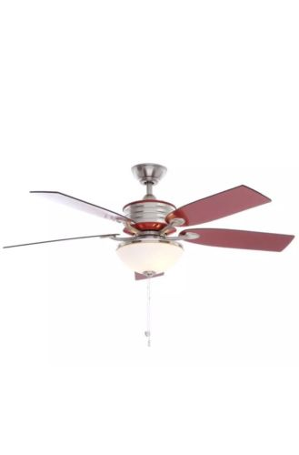 Hampton Bay Santa Cruz 52 in. Brushed Nickel Ceiling Fan with Red Accents