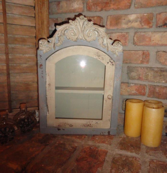 Gray/Blue Wood Cabinet with Glass Door, Shabby and Chic, Cottage Chic Wall Decor