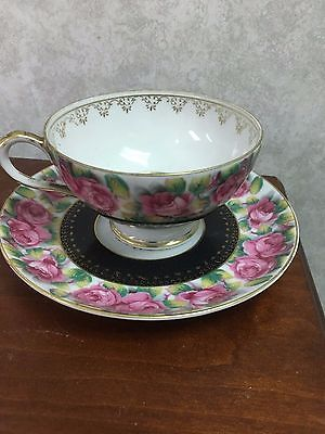 Teacup and saucer Hand painted Merit China made in Japan