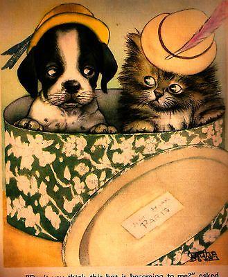 Vintage Book Illustration Kitten Puppy Hats 9 x 12