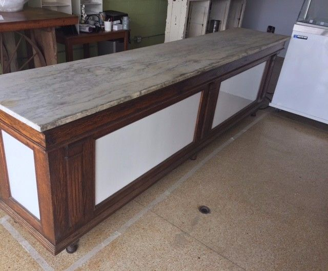 STORE / BUTCHER SHOP COUNTER IN OAK WITH MILK GLASS PANELS