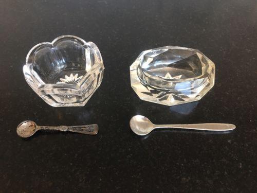 Pair Vintage Cut Glass Salt Cellars with Spoons