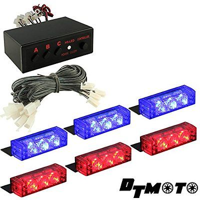 Lighting Assemblies Accessories DT MOTO Blue Red 18x LED Police Emergency Grill