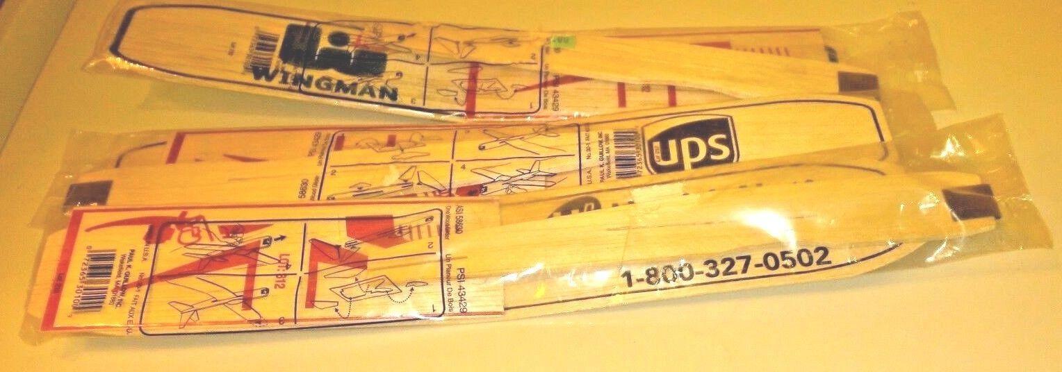3 Balsa Wood Guillow  glider Airplane Kit Advertising UPS Wingman Health Net