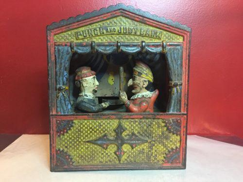 Antique Punch & Judy Puppets Cast Iron Mechanical Bank Shepard Hardware c. 1884