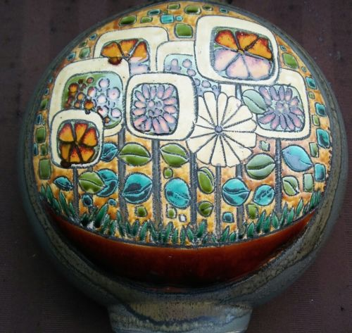 Vtg Eduardo Vega Cuenca Ecuador Studio Art Pottery Peacock Bird Vase Mid Century