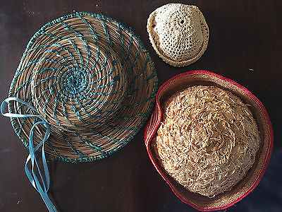Lot of Three Vintage - Antique doll hats: Straw, Sweetgrass and Crocheted Cotton