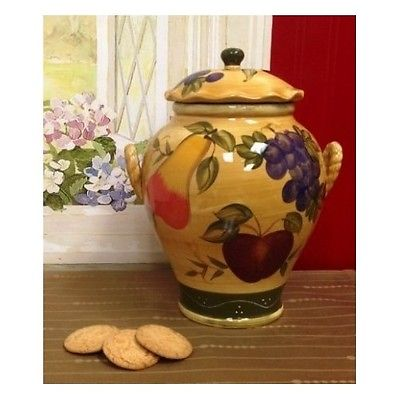 Ceramic Cookie Jar Canister Vintage Hand Painted Kitchen Food Storage Container