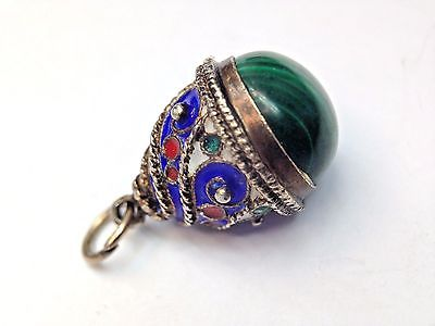 Unique! Antique Russian Enameled Sterling Silver Egg with a Malachite Bottom