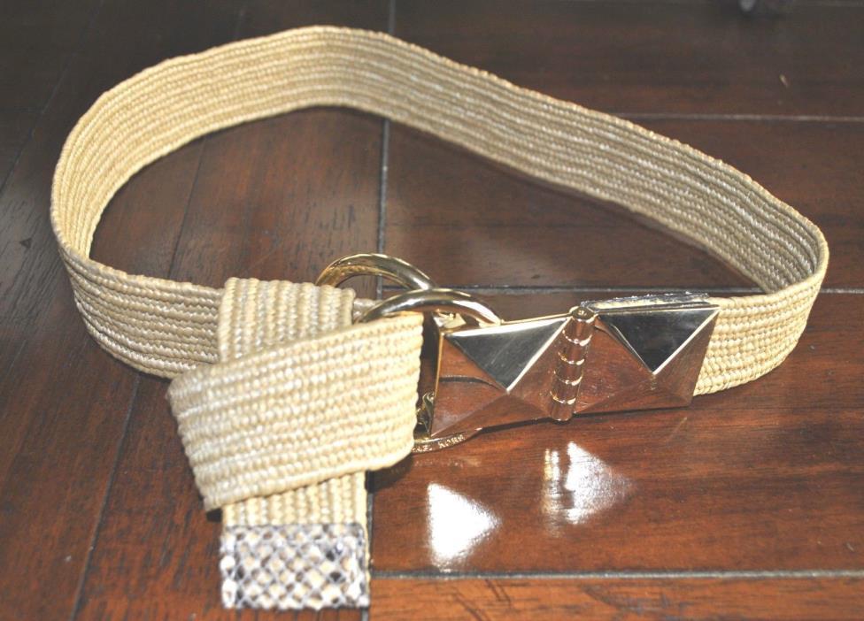 MICHAEL KORS Beige Natural Material, Python Leather Details & Gold Hardware Belt